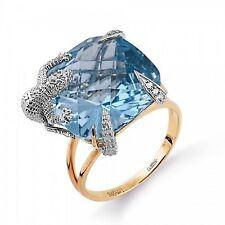 Ring Echse Diamanten Topas Russische Rose Rotgold 585 Brillanten riesiger Stein