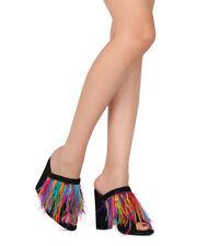 New Women Vigo Fiore Glady-10 Feather Fringe Peep Toe Block Heel Mule