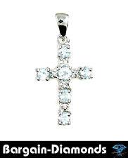 diamond blue topaz Christian cross pendant birthstone 925 .453-carats petite