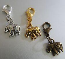 Mini Elephant Ganesh Daisy Flower Charm Pendant Good Luck Gold Silver Bronze