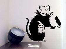 Banksy Graffiti Rata Pintor Rodillo Lounge Vinilo de Pared Arte Calcomanía Adhesivo -