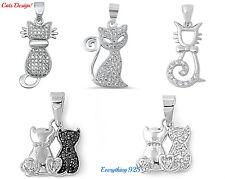 """Sterling Silver 925 PRETTY """"CATS CHARM PENDANT"""" DESIGN CZ (W/ FREE BOX CHAIN)"""