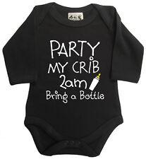 """GRACIOSO Body de bebé """"fiesta My Cuna bring a botella"""" manga larga negro"""