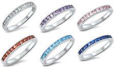 Sterling Silver 925 SEMI HALF ETERNITY WEDDING BAND CZ STONES RINGS SIZES 5-12