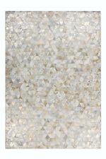Patchwork Teppich Design Teppiche 100% Elfenbein Gold Leder Handgefertigt