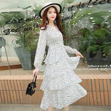 Women's V-neck Polka Dot Ruffle Long Dress Spring Summer Casual Layered Dresses