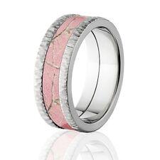 RealTree Pink Camouflage Treebark Finish Titanium Camo Rings