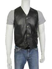 Men Black Classic Sleeveless Napa Biker Leather Waistcoat Jacket Bike Rock