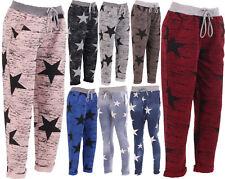 New Italian Ladies Women Star Print Elastic Waist Trouser Jogger UK Size 10-16