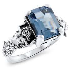 925 Sterling Silver Ring, #604 Mermaid Sim. Aquamarine Antique Style