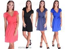Kleid Elegant in V-Ausschnitt mit Kordel 6 Farben Gr. XS S M L XL XXL 3XL, 5416