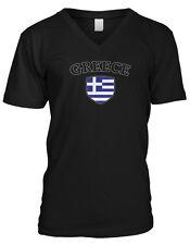 Greece Flag Crest Greek Hella National Soccer Football Pride Mens V-neck T-shirt