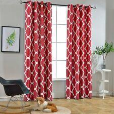 Set 2 Red White Geo Trellis Curtains Panels Drapes 63 84 96 inch L Darkening