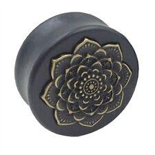 Holz Plug Flesh Tunnel Lotus Blüte Blume Wood Ear Plug Saddle Fit Organic