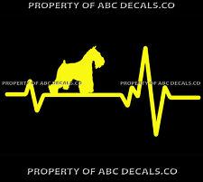 VRS HEART BEAT LINE DOG MINI Miniature Schnauzer Adoption Rescue CAR VINYL DECAL