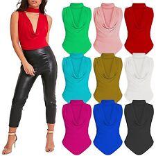 New Women's Choker Cowl Neck Bodysuit Leotard Stretch Shiny Top Slinky T shirt