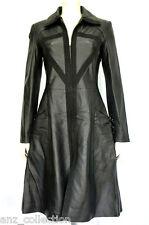 Angel Black Ladies Woman's Fashion Designer Gothic Knee Length Leather Jacket