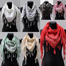 Dreiecktuch Halstuch Schal Stola Damen Fransen Faltenschal Cotton Blumendekor