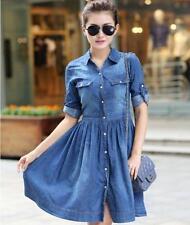 New Fashion Demin Women's Gilrs Autumn Spring Buttons Lady Blue Jean Dress Slim