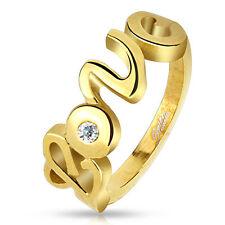 316l anello in acciaio inossidabile Love Amore Oro IP Zirconia Pietra chiaro CZ da donna