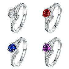 1 Karat Ring Silber pl Silberring mit 17 Zirkonia Verlobungsring Cocktail Ring