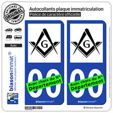 2 Autocollants plaque immatriculation Auto : Franc-Maçonnerie - Symbole