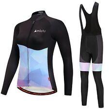 Women's Padded Cycle Long (Bib) Pants & Reflective Long Sleeve Jersey Bike Set