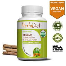 Organic Ashwagandha Root Capsules Withania Somnifera HIGH ABSORPTION Anti-Stress