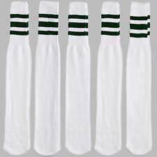 12 Pairs 1 Dozen White Tube Socks Striped Green Retro Old School Throwback Style