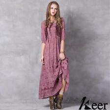 Womens Retro Vintage Linen Boho Short SleeveLace Up Flared Maxi Long Dress 8193