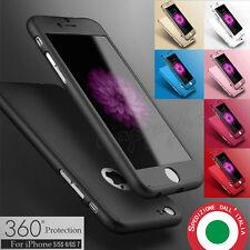 COVER CUSTODIA FRONTE RETRO + VETRO TEMPERATO 360° Per iPhone 7 5 5s SE 6 6s