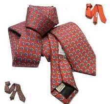 CRAVATTA slim rossa con disegni Paisley CRAVATTINO fine SETA VARI toni skin tie