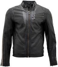 Men's Café Racer Black Leather Biker Jacket