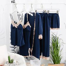 5 Pieces Satin Sleepwear Women Pajamas Set Lace Silk Sleep Lounge Indoor Clothes