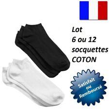 LOT SOCQUETTE 6 OU 12 SOCQUETTES CHAUSSETTE HOMME FEMME UNI COTON  42 44 46