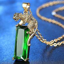 Exquisite Women Necklace Yellow Gold leopard Pendant Emerald Gemstone Jewelry