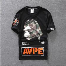 Bape Summer Casual T-Shirts A Bathing Ape Monkey Head T-Shirt Cotton Tee Tops