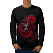 Flor Rosa Metal Calavera Hombre Manga Larga T-shirt new | wellcoda