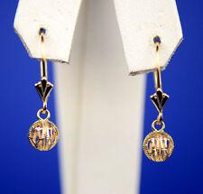 14k Yellow Gold Dangle Corrugated Ball Leverback Pierced Earrings