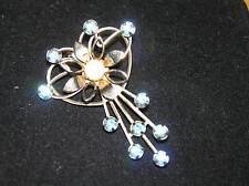 Vintage Wire GT HEART w Flower Opal Rhinestone Center & Blue Spray Rhinestones