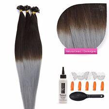 #1b/Dark Grey  Ombre  Keratin Bonding Extensions 100%  Echthaar Strähnen 1g