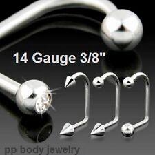 """14G~3/8""""~10mm Steel Ball C.Z. & Spike Lippy Loop Labret"""