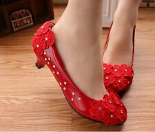 Zapatos de salón mujer bailarina rojo evento encaje novia 3.5, 4.5 cm 9343