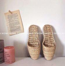 30afe1337f9 vintage femmes unisexe paille naturelle tissé chausson sandales chaussures  tongs