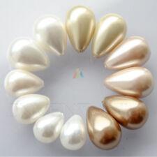 Demi-foré Larme Coquillage Majorica Perles x2 pour faire des boucles d'oreilles Pendentif