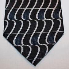 NEW Antonia Silk Neck Tie Black Silver Blue 21