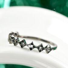 18k black rhodium plated crystal filigree ring fashion party slim
