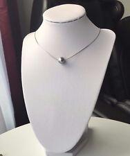 Silber Perlen Halskette mit Anhänger|Muschelkernperlen 12mm|925 Sterlingsilber