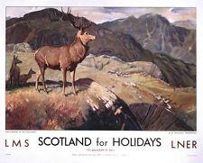 Vintage LMS LNER Scotland for Deer Stalking in Highlands Railway A3/A2/A1 Print