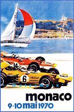 Monaco Grand Prix 1970 Car Racing Vintage Poster Print Tourism Sailing Decor Art